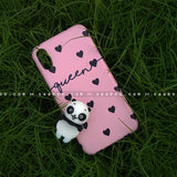 Toy Case - saaboo - Panda Toy and Pink Black Hearts Name Case