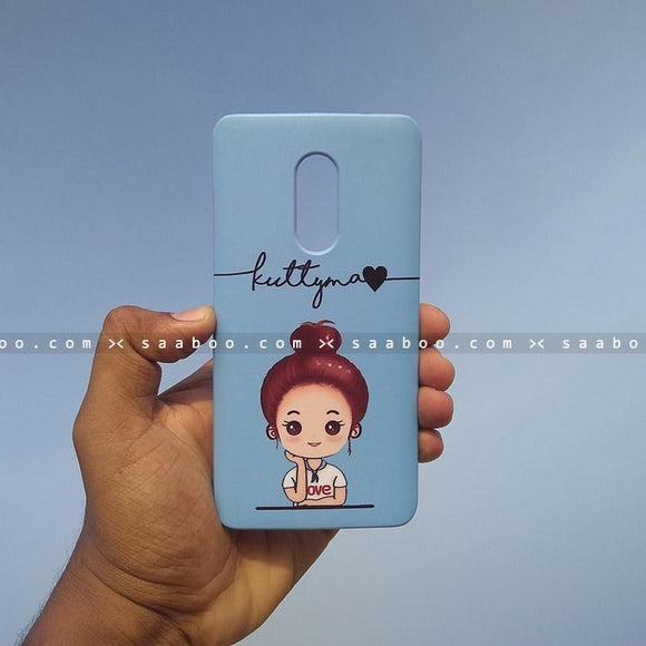 Case - saaboo - Mobile Case with Blue Cute Girl and Wave Name Print