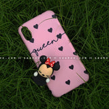 Toy Case - saaboo - Minnie Toy and Pink Black Hearts Name Case