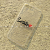 Silicone Case - saaboo - Transparent Silicone case with Portrait Name and Red heart