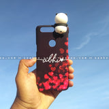 Toy Case - saaboo - Panda Toy and Red Hearts Black Case with Name