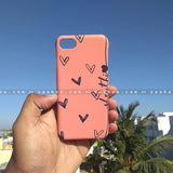 Case - saaboo - Mobile Case with Peach Big Hearts and Name Print