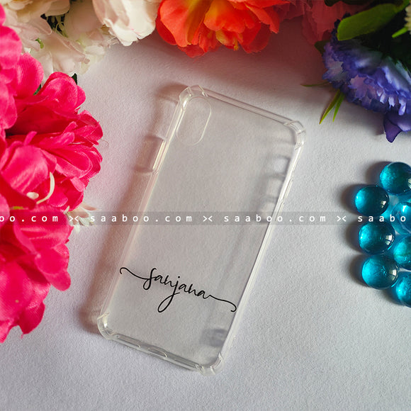 Silicone Case - saaboo - Transparent Silicone case With Wave Name