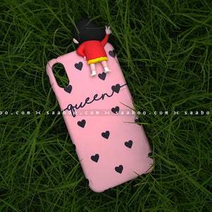 Toy Case - saaboo - Shinchan Toy and Pink Black Hearts Name Case
