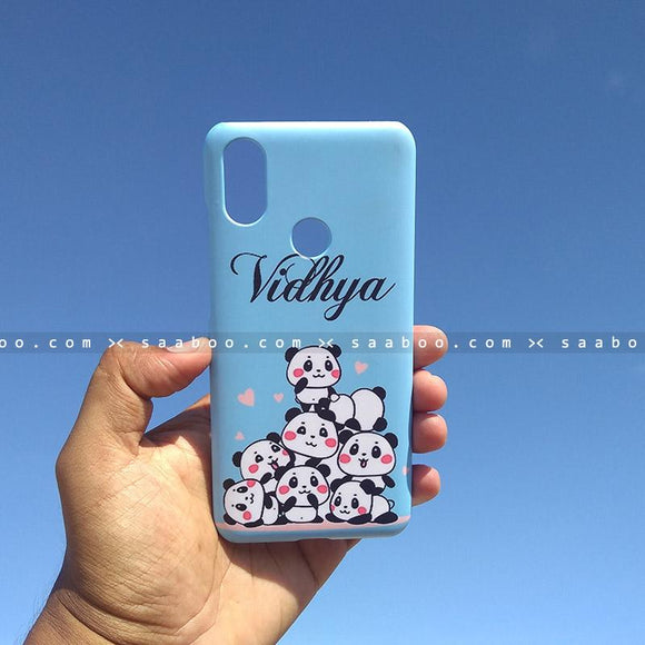 Case - saaboo - Mobile Case with Blue Pandas and Cursive Name Print