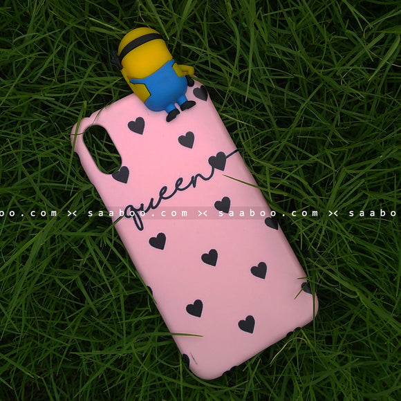 Toy Case - saaboo - Minion Toy and Pink Black Hearts Name Case