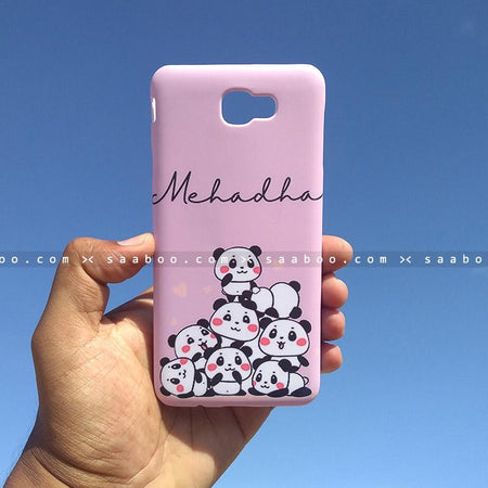 Case - saaboo - Mobile Case with Lavender Pandas and Name Print
