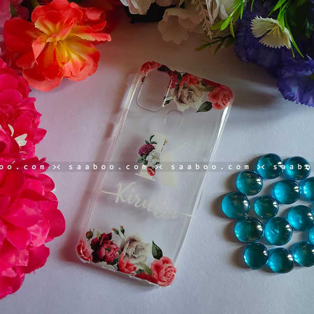Transparent Silicone case with Floral White Name