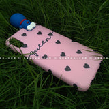 Toy Case - saaboo - Doraemon Toy and Pink Black Hearts Name Case