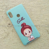 Case - saaboo - Mobile Case with Blue Cute Girl and Name Print