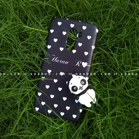 Toy Case - saaboo - Panda Toy and Black White Hearts Name Case
