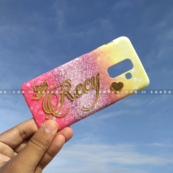 4D Case - saaboo - 4D Case Different Color Glitter with Name and Heart