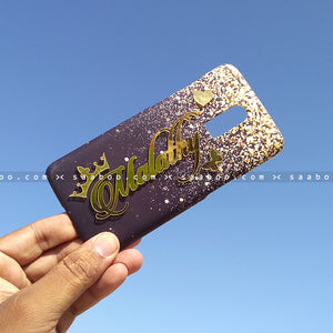 4D Case - saaboo - 4D Case Black and Gold Glitter with Name