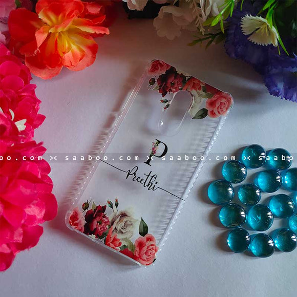 Transparent Silicone case with Floral Black Name