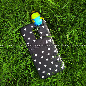 Toy Case - saaboo - Minion Toy and Black White Hearts Name Case