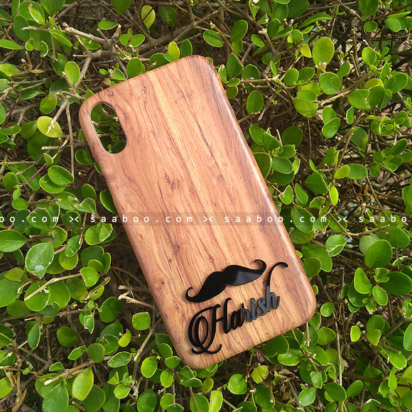 4D Case - saaboo - 4D Case Wooden with Name Mustache
