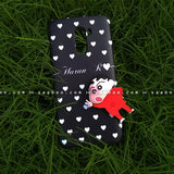 Toy Case - saaboo - Shinchan Toy and Black White Hearts Name Case