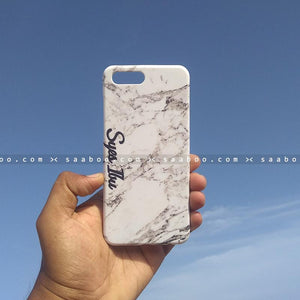Case - saaboo - Mobile Case with White Marble and Cool Name Print