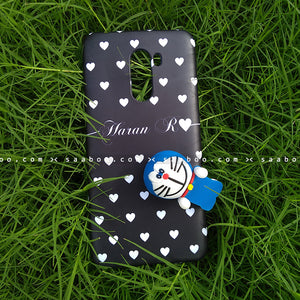 Toy Case - saaboo - Doraemon Toy And Black White Hearts Name Case