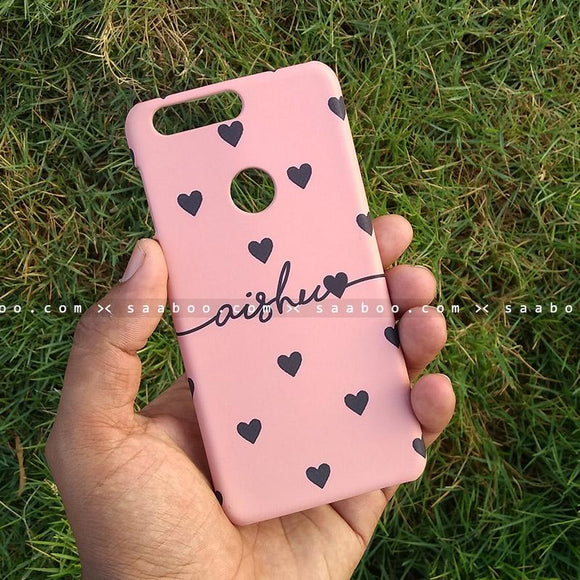 Case - saaboo - Mobile Case with Pink Hearts and Wave Name Print