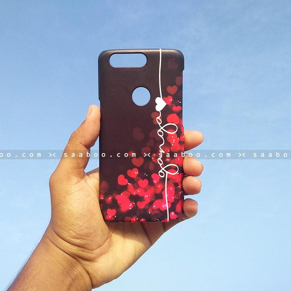 Case - saaboo - Mobile Case with Red Hearts and Wave Name Print
