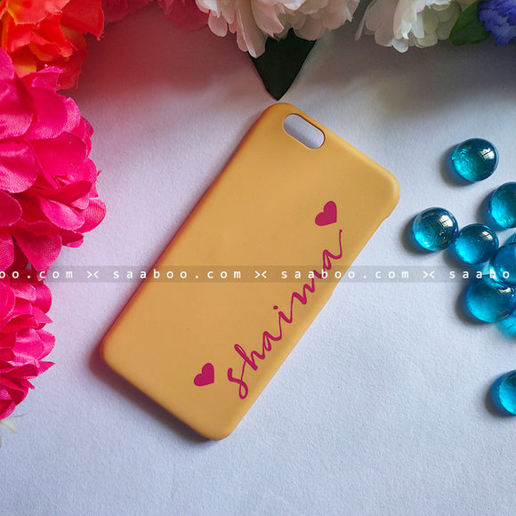 Case - saaboo - Golden Yellow Case with Name Heart Print