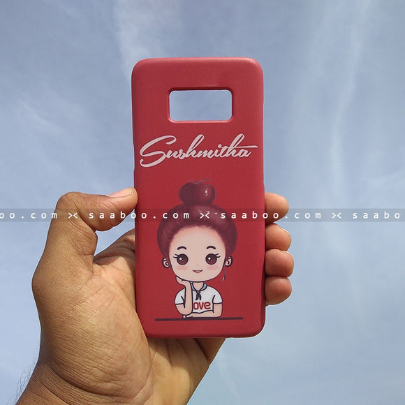 Case - saaboo - Mobile Case Red with Cute Girl and Name Print