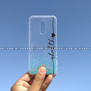 Silicone Case - saaboo - Transparent Silicone case with Name and Blue hearts