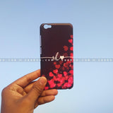 Case - saaboo - Mobile Case with Black Red Hearts and Wave Name Print