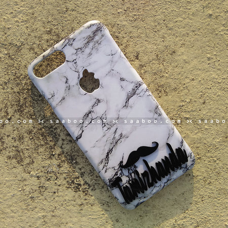 4D Case - saaboo - 4D Case White Marble with Mustache and Name