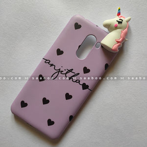 Toy Case - saaboo - Unicorn Toy With Lavender Hearts Name Case