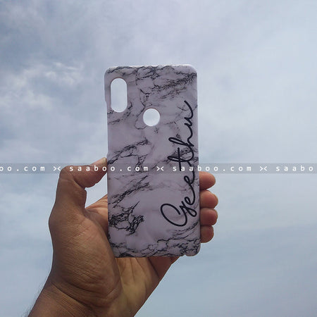 Case - saaboo - Mobile Case White Marble Name Print