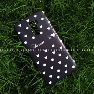 Case - saaboo - Mobile Case Black White Hearts Name Print