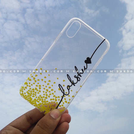Silicone Case - saaboo - Transparent Silicone case with Name and Yellow hearts