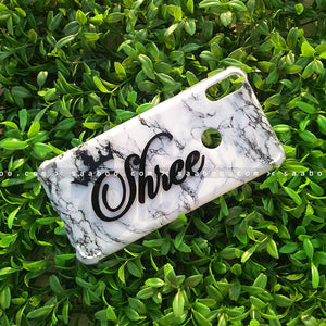 4D Case - saaboo - 4D Case White Marble with Name and Crown