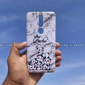 Case - saaboo - White Marble Pandas Case with Crown Name Print