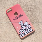 Case - saaboo - Red Gradient Pandas Case with Name Print