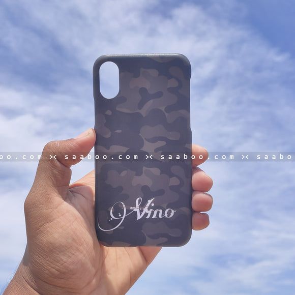 Case - saaboo - Black and Grey Camouflage with Name Print