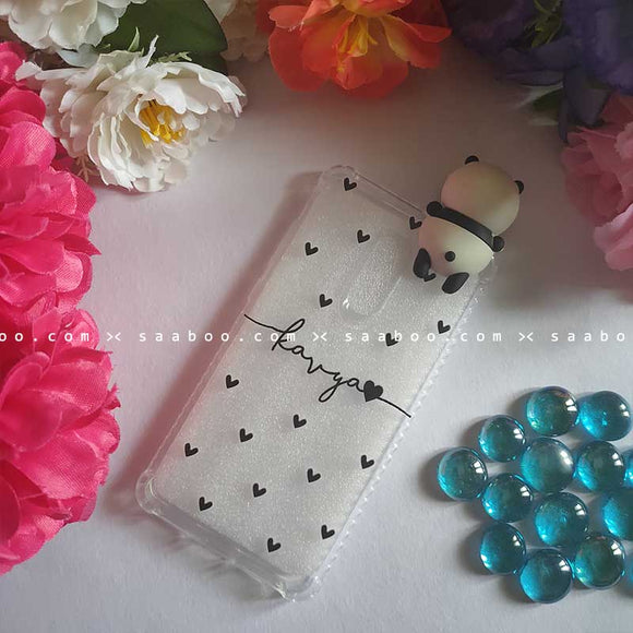 Panda Toy Hearts Transparent silicone case with Name