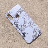 Case - saaboo - White Marble Case with Stylish Name Print