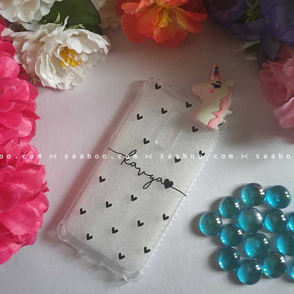 Unicorn Toy Hearts Transparent silicone case with Name