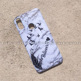 Case - saaboo - White Marble Feather Case with Stylish Name Print