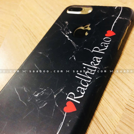 Case - saaboo - Black Marble with Hearts Name Printed