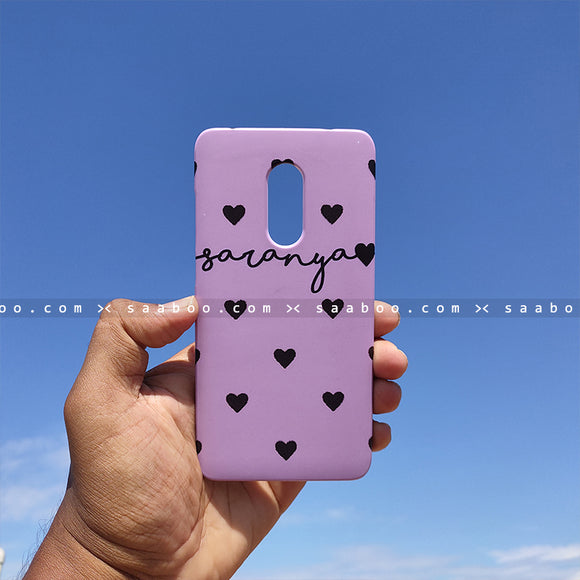 Case - saaboo - Lavender Hearts with Name Print