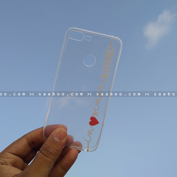 Silicone Case - saaboo - Transparent Silicone case with White Name
