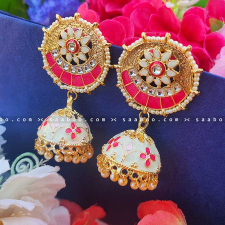 Pink Whitish Golden Enamel Stones Meenakari Earring
