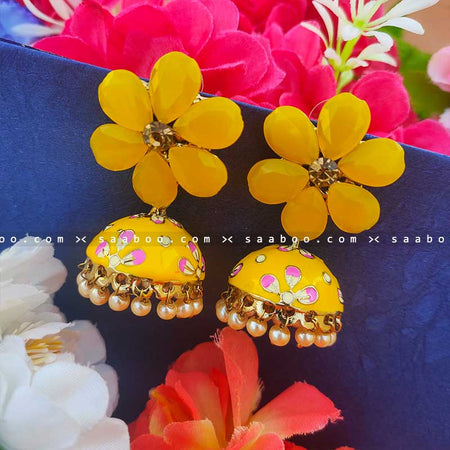 Yellow Golden Enamel Flower Stones Meenakari Earring