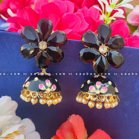 Black Golden Enamel Flower Stones Meenakari Earring