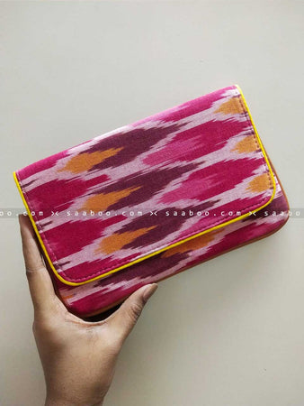 Ikat Clutches with Mixed Maroon Ikat Design