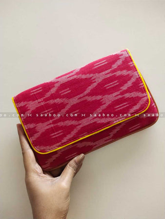 Ikat Clutches with Full Maroon Ikat Design